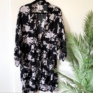 Spiritual Gangster   Black Floral Print Robe